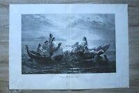 Kunst Holzschnitt 1900 W Kray - Des Fischers Traum Wasser Nixen Frauen 57x40cm