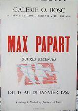max papart - tres belle affiche exposition 1960 avec dessin original dedicace