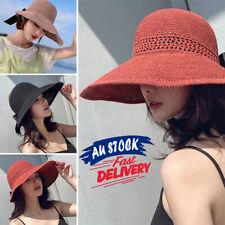 Women Straw Cap Foldable Wide Brim Summer Sun Hat Fashion Beach Bow Visor