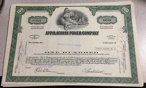 Appalachian Power Co. Ten (10) Stockm Certificates