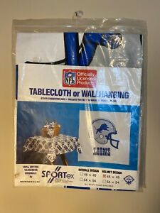 """Detroit Lions NFL Football Tablecloth Wall Banner Hanging 45""""x45"""" Vintage decor"""