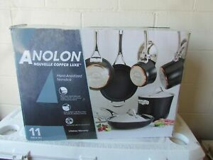 ANOLON 11 PIECE COOKWARE SET NON- STICK ANODIZED ALUMINUM  BLACK