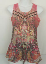 One World Womens Tank Top Racer-back   Pink Multi Color Petite S Lace Sleeveless