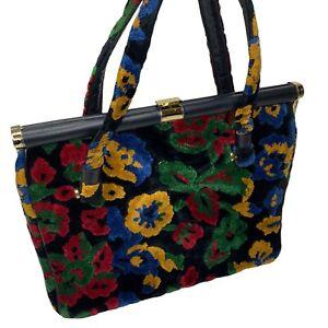 Vintage CARPET BAG FLORAL TAPESTRY SOFT VELVET CHENILLE Handbag Purse Black 12in