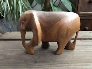 Mid Century Hand Carved Teak Elephant