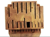 New Ronco SIX STAR Cutlery 30 Slot Knife Block Solid Wood Labeled Slot Honey Oak