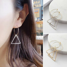 Retro Korean Women Party Gold Silver Plated Hoop Clamp Drop Dangle Earrings Gift
