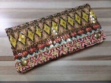 Cool Tobacco Pouch / Leno Bag - Yellow/Brown Pailettes - Fabric - New - 628350/4