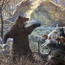 Wagner Adolf 1861 Kassel Bär Bärenjagd Hund Hundemeute Jagd Brehms Tierleben