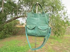 Fossil Cargo Green Leather Foldover Convertible Crossbody Bag Shoulder Purse