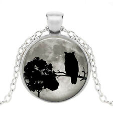 Cabochon Glass Pendant Chain Necklace Black Owl Moon Photo Tibet Silver