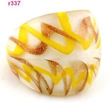 Fashion Murano yellow&brown Cross-wound Lampwork art Glass ring band Size 8 EY56