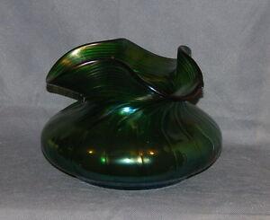 Bohemian Iridescence Ribbed Twist Green Glass Bowl Probably Kralik Circa 1900