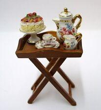Serviertisch inkl. Porzellan Puppenhaus Möbel Dekoration Miniatur 1:12 Reutter