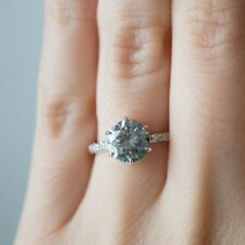 Beautiful 1.58 Ct Gray Round Cut Moissanite Engagement Ring 925 Sterling Silver