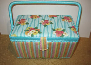 Susan Winget Sewing Basket with Handle & Tray Floral Multicolor Stripes New Tags