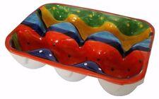 Caja Bandeja Soporte para Huevos Para 6 huevos 19 X 13.5 cm español hecho a mano de cerámica de barro