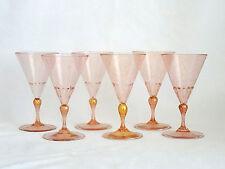 Venetian Murano Art Glass Water Wine Pink Gold Aventurine Glasses Lot of 6