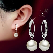Hot Fashion Ladies Silver Plated Freshwater Peal Dangle Stud Earrings