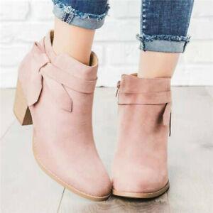 Ladies Women Chelsea Ankle Boots Block Mid Heel Bowknot Zip Booties Casual Shoes
