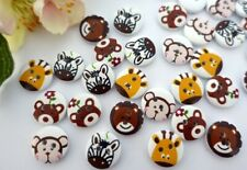 10 Wooden Animals Round Buttons 15mm VINTAGE Button Kids Buttons Baby Buttons
