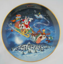 Looney Tunes Porcelain What'S Up Santa Christmas Collector Plate Bugs Marvin Taz