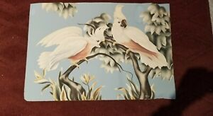1950's Vintage Mid Century Turner Cockatoo Print Unframed 19 x28 wide. Cut down