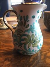 Vintage Italy Hand Painted Pitcher Vase Turquoise Olive Green Mint