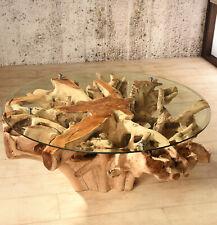 Wurzelholz Tisch 80x80 Amazonas Teak Couchtisch Wohnzimmertisch Holz Massiv Rund