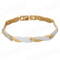 Gold Silver Stainless Steel Cuff Bracelet Wristband Cuff Chain Bangle Jewelry