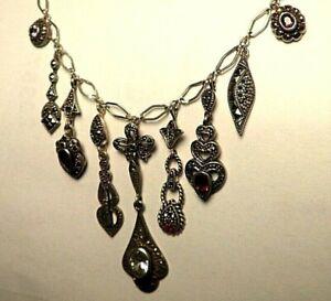 Stunning Handmade .925 Sterling Multi-Stone Charm Dangle Necklace U-Pick-Length