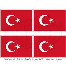 """TURKEY Turkish Flag Türkiye 2"""" (50mm) Vinyl Bumper-Helmet Stickers, Decals x4"""