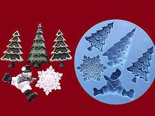 Christmas Xmas Tree Snowman Snowflake silicone mould sugarcraft cake decorating