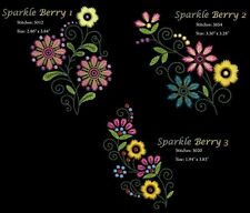 Sparkleberry Floral Machine Embroidery Designs CD 4x4 hoop Brother, Janome etc