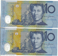 1994 Ten Dollar $10 Blue Dobell (BLUE SHADING). From a bank pack. CONSEC PAIR