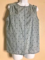 Ann Taylor Loft Womens Size Large Petite Blue Polka Dot Sleeveless Button Top