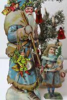 Blauer Weihnachtsmann mit Kind  1910Jh  24cm und 13 cm alte Oblate