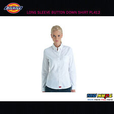 NWT Dickies Girl Long Sleeve Button Down Shirt PL412 S~2XL BLACK WHITE BABY BLUE