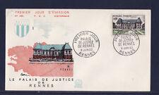 enveloppe 1er jour  palais de justice de   Rennes     1962