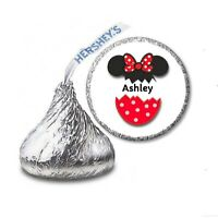 108 MINNIE MOUSE PERSONALIZED Birthday Party Favors Stickers Labels Hershey Kiss