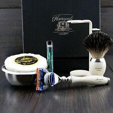 Men's Shaving Set Gillette Fusion & Pure Black Badger Brush Grooming Kit for HIM
