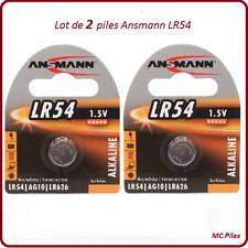 Lot de 2 piles boutons AG10/LR54 Alcalines Ansmann, livraison rapide et gratuite