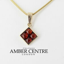 Italian Made Modern Elegant Amber Pendant in 9ct Gold -GP0059  RRP£80!!!