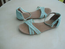 TOM'S Teal Lace Ankle Strap Flat Sandals 7.5