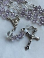Handmade In USA Silver And Soft Lilac Glass Bead Rosary Prayer Beads Five Decade