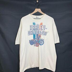 Harley Davidson Graphic Tee Shirt Route 66 Tulsa White Biker Mens Size 2XL Hog