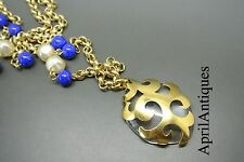 Vintage Yves Saint Laurent YSL clear jelly glass pendant Necklace