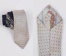 Vtg c.1940 - 1950s Peek-A-Boo Silver Navy Polka Dot Fern Pin Up Girl Necktie Tie