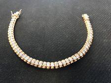 "Gold Plated Sterling Silver 925 CZ Tennis Bracelet 7.25"" 18g"