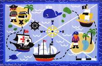 "3x5  Rug  Pirate  Buried Treasure Island  Ocean  Kids Play Time  3'3""x4'10"" New"